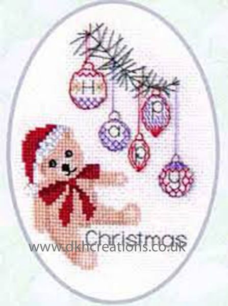 Christmas Teddy Bear Card Cross Stitch Kit